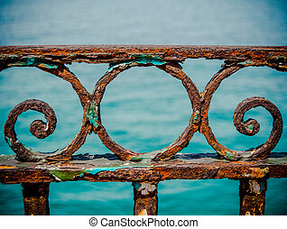 vendemmia, arrugginito, railings