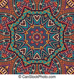 vendemmia, astratto, etnico, seamless, modello, tribale