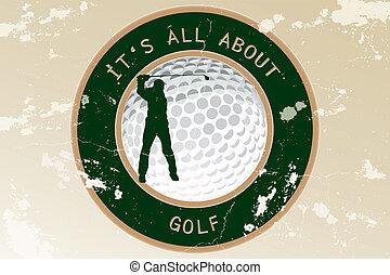 vendemmia, astratto, golf, etichetta