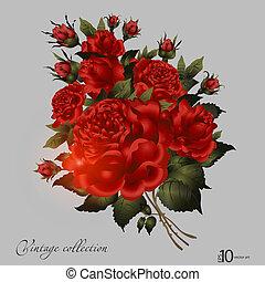vendemmia, astratto, ornamento, elegante, vettore, fondo, vegetative, floreale