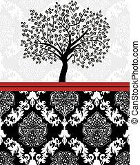 vendemmia, astratto, ornare, albero, elegante, disegno, invito, floreale, scheda