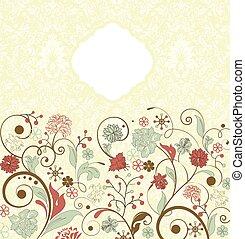 vendemmia, astratto, ornare, elegante, disegno, retro, invito, floreale, scheda