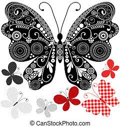 vendemmia, astratto, set, farfalle