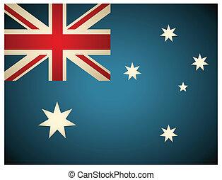 vendemmia, australia, vettore, illustration., flag.