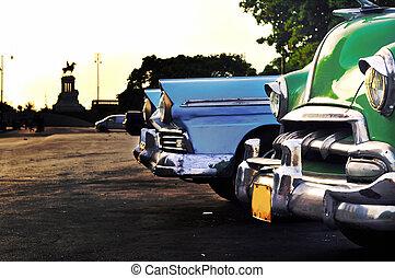 vendemmia, avana, scena, automobili