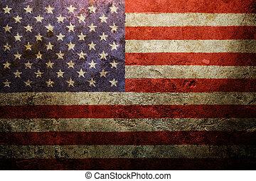 vendemmia, bandiera americana, fondo, portato