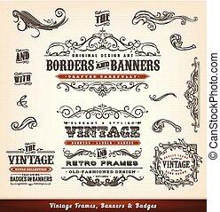 vendemmia, bandiere, cornici, tesserati magnetici, calligraphic