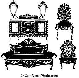 vendemmia, barocco, mobilia, set
