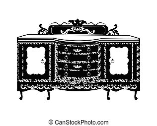 vendemmia, barocco, ricco, commode, tavola