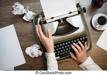 vendemmia, bianco, carta, macchina scrivere