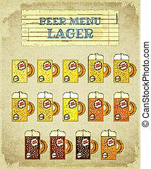 vendemmia, birra, card., lager.