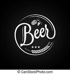 vendemmia, birra, disegno, fondo, etichetta