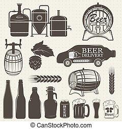 vendemmia, birra, mestiere, fabbrica birra, emblemi