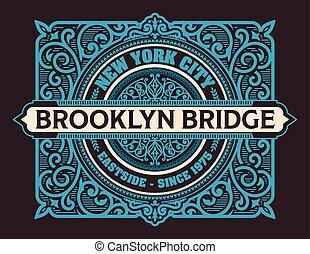 vendemmia, brooklyn, vettore, etichetta, york, nuovo