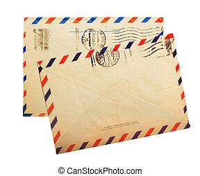 vendemmia, busta, indietro, metro, isolato, francobolli, due, russo, bianco, lati