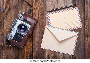 vendemmia, busta, macchina fotografica, retro, scheda posto