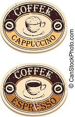 vendemmia, caffè, etichetta
