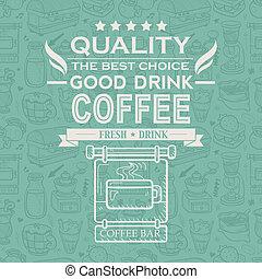 vendemmia, caffè, tipografia, fondo, retro