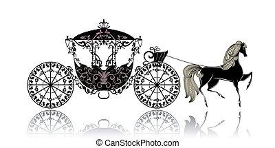 vendemmia, carrello, cavallo