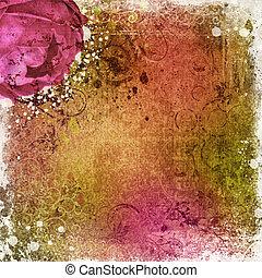 vendemmia, carta da parati, fondo, con, rosa