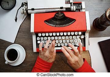 vendemmia, carta, macchina scrivere, rosso, vuoto
