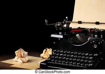 vendemmia, carta, vecchio, Macchina scrivere, vuoto