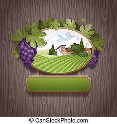 vendemmia, cartello, uva