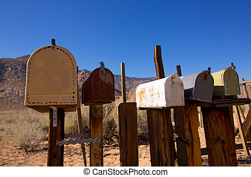 vendemmia, cassette postali, california, ovest, invecchiato, deserto