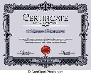 vendemmia, certificato, di, achievement.