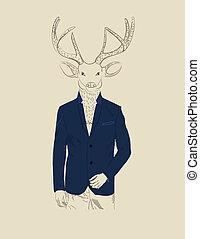 vendemmia, cervo, illustrazione, completo