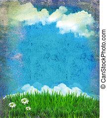 vendemmia, cielo, con, sole, e, clouds.nature, fondo, per, disegno, su, vecchio, carta