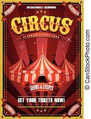vendemmia, cima, circo, grande, manifesto