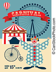vendemmia, circo, o, carnevale, manifesto