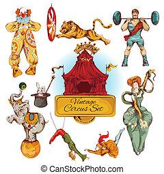vendemmia, circo, set, colorato, icone