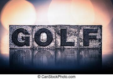 vendemmia, concetto, golf, letterpress, tipo