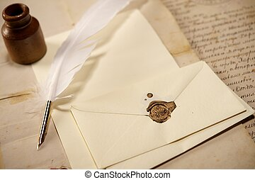 vendemmia, concetto, lettera