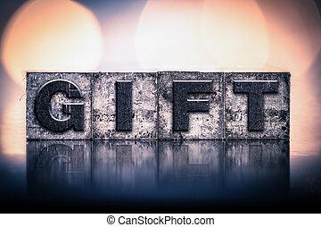 vendemmia, concetto, tipo, regalo, letterpress