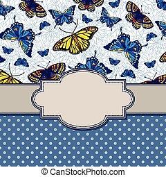 vendemmia, cornice, farfalle