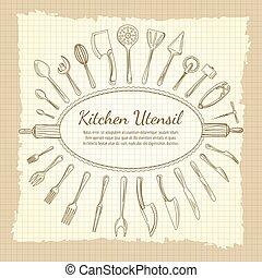 vendemmia, cornice, fondo, vasellame, cucina