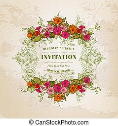 vendemmia, cornice, -, fondo, vettore, invito, disegno floreale, scheda