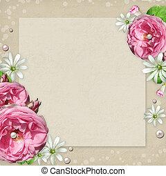 vendemmia, cornice foto, con, rose