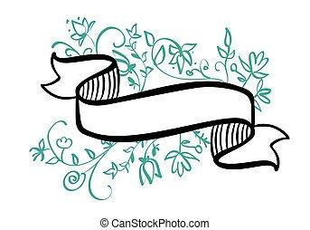 vendemmia, cornice, illustrazione, mano, tropicale, fondo, vettore, posto, testo, disegnato, fiori bianchi, bandiera, foglie, nastro