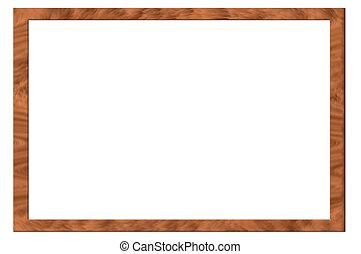 vendemmia, cornice, legno, placcato, sfondo bianco, percorso...