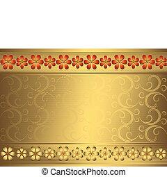 vendemmia, cornice, oro, (vector)