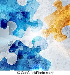 vendemmia, corporativo, fondo., astratto, puzzle, forma,...