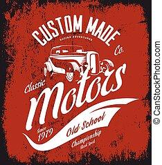 vendemmia, costume, verga calda, motori, vettore, logotipo, concetto, isolato, su, rosso, fondo.