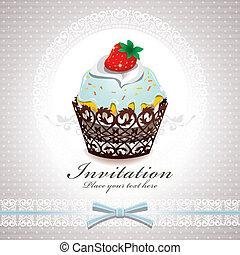vendemmia, cupcake, disegno, manifesto