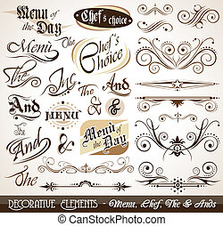 vendemmia, decorativo, calligraphic, elementi