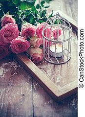 vendemmia, decorazione, rose