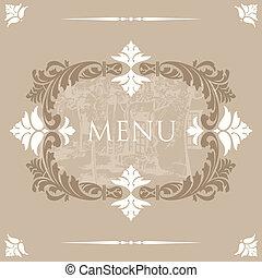 vendemmia, disegno, coperchio, menu